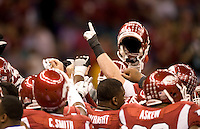 Arkansas players huddle together before going back into the locker room during 77th Annual Allstate Sugar Bowl Classic at Louisiana Superdome in New Orleans, Louisiana on January 4th, 2011.  Ohio State defeated Arkansas, 31-26.