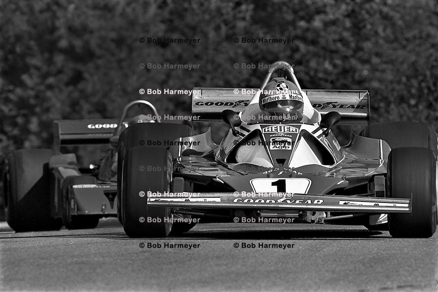 BOWMANVILLE, ONTARIO - OCTOBER 3: Niki Lauda of Austria drives his Ferrari 312T2 026/Ferrari 015 ahead of Patrick Depailler of France in the Tyrrell P34 2/Ford Cosworth DFV during the Canadian Grand Prix FIA Formula 1 race at Mosport Park near Bowmanville, Ontario, on October 3, 1976.