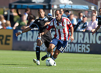 Santa Clara, California - Sunday May 13th, 2012: Nick LaBrocca of Chivas USA is being defended by Tressor Moreno of San Jose Earthquakes during a Major League Soccer match at Buck Shaw Stadium