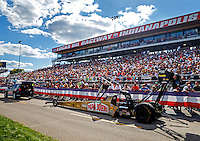 Sep 3, 2016; Clermont, IN, USA; The dragster of NHRA top fuel driver Leah Pritchett is towed back to the pits during qualifying for the US Nationals at Lucas Oil Raceway. Mandatory Credit: Mark J. Rebilas-USA TODAY Sports
