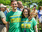 "May 31, 2014; Two 1994 alums wear the original version of ""The Shirt"" for the 2014 Reunion class photo. The Shirt was first offered in the freshman year of the class of '94. Photo by Matt Cashore/University of Notre Dame"