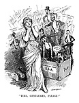 """""""Time, Gentlemen, Please!"""" (the goddess of Music blocks her ears to ragtime songs coming from a music box, A Present From USA)"""