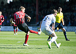 Dundee v St Johnstone...25.04.15   SPFL<br /> David Wotherspoon scores saints second goal<br /> Picture by Graeme Hart.<br /> Copyright Perthshire Picture Agency<br /> Tel: 01738 623350  Mobile: 07990 594431