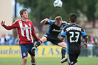 Chris Leitch (center) heads the ball. Chivas USA defeated the San Jose Earthquakes 2-1 at Buck Shaw Stadium in Santa Clara, California on April 23rd, 2011.