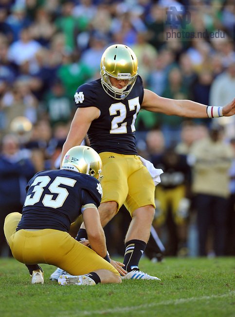 Sep 8, 2012; Kyle Brindza (27) kicks the game-winning field goal against Purdue...Photo by Matt Cashore