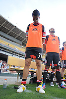D.C. United midfielder Marcelo Saragosa (11) at the signing of the National Anthem.  D.C. United defeated Toronto FC 3-1 at RFK Stadium, Saturday May 19, 2012.