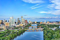 This is an aerial captured over the Lady Bird Lake with the Austin skyline in the back ground.  The cityscape of Austin is a modern urban area with many high rise skyscrapers buildings along the downtown shoreline so it make a nice architecture image.  You can also see the many unique architecture high rise city along with the many bridges across the lake.We were able to capture this high quality aerial image because we use a full frame camera on our drone for out still photographs so we can get the best image which can be printed easlity as a 40 x 60 or larger size without loss of resolution.