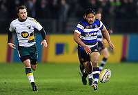 Ben Tapuai of Bath Rugby chases after the ball. Aviva Premiership match, between Bath Rugby and Northampton Saints on February 10, 2017 at the Recreation Ground in Bath, England. Photo by: Patrick Khachfe / Onside Images