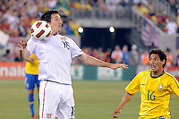 Sacha Kljestan (16) of the United States controls the ball. The men's national team of Brazil (BRA) defeated the United States (USA) 2-0 during an international friendly at the New Meadowlands Stadium in East Rutherford, NJ, on August 10, 2010.