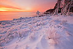 "Ice hoodoos and formations along Ocean Drive at sunrise after the blizzard, ""Nemo"" at Acadia National Park, Maine, USA"