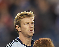 Sporting Kansas City forward Jacob Peterson (37). In the first game of two-game aggregate total goals Major League Soccer (MLS) Eastern Conference Semifinal series, New England Revolution (dark blue) vs Sporting Kansas City (light blue), 2-1, at Gillette Stadium on November 2, 2013.