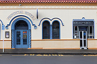 Provincial Hotel, in Spanish Mission Style, Napier, north island, New Zealand.  Originally built in 1873, rebuilt in 1932 after the 1931 earthquake.