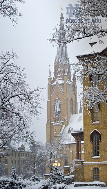 Jan. 22, 2013; Basilica Steeple after a snowfall...Photo by Matt Cashore/University of Notre Dame