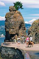 Stanley Park, Vancouver, BC, British Columbia, Canada - Siwash Rock and Seawall along English Bay