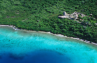 Aerial view of St.  John<br /> Showing Annaberg Plantation<br /> Virgin Islands National Park<br /> U.S. Virgin Islands