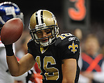 New Orleans Saints lance Moore 916) celebrates a first quarter touchdown vs. New York Giants at the Superdome in New Orleans, La. on Monday, November 28, 2011. New Orleans won 49-24.