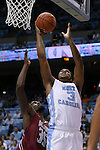 06 November 2015: North Carolina's Kennedy Meeks (3) and Guilford's Alston Thompson (35). The University of North Carolina Tar Heels hosted the Guilford College Quakers at the Dean E. Smith Center in Chapel Hill, North Carolina in a 2015-16 NCAA Men's Basketball Exhibition game. UNC won the game 99-49.