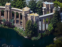 aerial photograph rows of Corinthian columns Palace of Fine Arts San Francisco California