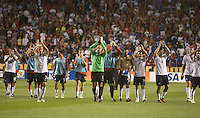 USA players led by Tim Howard celebrate their 2-1 victory over El Salvador after a World Cup Qualifying match at Rio Tinto Stadium, in Sandy, Utah, Friday, September 5, 2009.  .