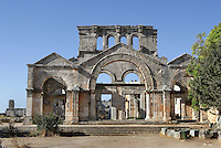 Ruined arches of St Simeon Stylite basilica, built 473 to accommodate pilgrims visiting and praying at St Simeon's column, Deir Samaan, Syria Picture by Manuel Cohen
