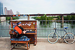 A pianist participates in &quot;Play Me, I'm Yours,&quot; Austin, Texas, April 19, 2011. Play Me I'm Yours is a month-long, city-wide interactive art installation that invites Austinites to explore and enhance the city's soundscape.<br />
