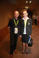 September 10, 2009; Mie, Japan;  (L-R) Dirk Zimmermann (UEG photographer) poses with Vera Sessina of Russia after press interview at 2009 World Championships Mie. Vera was the FIG designated gymnast's representative at Mie 2009. Photo by Tom Theobald.<br /> <br /> (Photo note: Image is available only for journalistic editorial use by request. Contact photographer.)