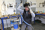 Diel Vaneenooghe TIG welding a frame at the Jaegher Bikes factory in Ruiselede, Flanders, Belgium. 23rd March 2017.<br /> Picture: Eoin Clarke | Cyclefile<br /> <br /> <br /> All photos usage must carry mandatory copyright credit (&copy; Cyclefile | Eoin Clarke)