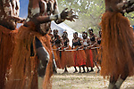 Women from the Aurukun dance troupe performing at the Laura Aboriginal Dance Festival.  Laura, Queensland, Australia