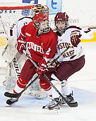 Corinne Boyles (BC - 29), Alyssa Gagliardi (Cornell - 2), Dana Trivigno (BC - 8) - The Boston College Eagles defeated the visiting Cornell University Big Red 4-3 (OT) on Sunday, January 11, 2012, at Kelley Rink in Conte Forum in Chestnut Hill, Massachusetts.