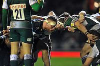 Max Lahiff of Bath Rugby prepares to scrummage against his opposite number. Aviva Premiership match, between Leicester Tigers and Bath Rugby on November 29, 2015 at Welford Road in Leicester, England. Photo by: Patrick Khachfe / Onside Images