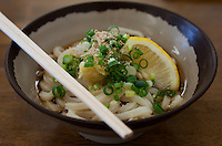 Sanuki udon noodles topped with green onions and grated ginger and lemon, Takamatsu, Japan.