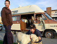 A man who gave his name as David, stands next to the camper van that he lives in with his girlfriend Vickie and their dog Isis in Ocean Beach, Thursday January 31 2008.  David and Vickie were both born deaf and both survive on welfare.  Until David bought the van for $350, they lived on the street.  San Diego City Council are studying the cost of a ban on overnight pakring of RVs in coastal neighborhoods.