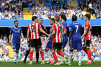 Chelsea players were not happy after a challenge from Sunderland's Billy Jones on Eden Hazard during Chelsea vs Sunderland AFC, Premier League Football at Stamford Bridge on 21st May 2017
