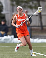 Syracuse University attacker Alyssa Murray (1) behind the net.   Syracuse University (orange) defeated Boston College (white), 17-12, on the Newton Campus Lacrosse Field at Boston College, on March 27, 2013.