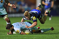 Michael Claassens puts pressure on Vasily Artemyev. Aviva Premiership match, between Bath Rugby and Northampton Saints on September 14, 2012 at the Recreation Ground in Bath, England. Photo by: Patrick Khachfe / Onside Images