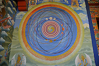 Buddhist cosmic painting on the wall of Kuriej Lhakhang Monastry, Jankar, Bumthang. Arindam Mukherjee.