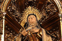 Detail of Statue of St Teresa, in the Chapel built over the room where she was born, Convento de Santa Teresa,(Convent of St Teresa), 1629-36, Avila, Spain, constructed in Baroque style on the site of St Teresa's birthplace by architect and monk Alonso de san Jose (1600-54). Santa Teresa (1515-82), was a Carmelite nun, canonized 1622. Photograph by Manuel Cohen.