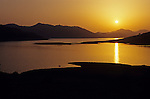Lake Kaweah Horse Creek Recreation Area sunset over calm lake along highway 198 going to Sequoia National Park California USA