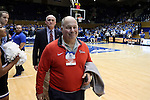 11 November 2016: Marist College president David N. Yellen is followed by athletic director Tim Murray (behind). The Duke University Blue Devils hosted the Marist College Red Foxes at Cameron Indoor Stadium in Durham, North Carolina in a 2016-17 NCAA Division I Men's Basketball game. Duke won the game 94-49.