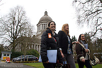 From left to right: Abby Stein, Hilary Seling, and Laura Griffin, all from District 36 in Seattle, visit with their Representatives during Humane Lobby Day. (© Karen Ducey Multimedia)