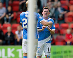 St Johnstone v Falkirk&hellip;23.07.16  McDiarmid Park, Perth. Betfred Cup<br />Danny Swanson celebrates his first penalty<br />Picture by Graeme Hart.<br />Copyright Perthshire Picture Agency<br />Tel: 01738 623350  Mobile: 07990 594431