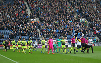 The teams take to the pitch<br /> <br /> Photographer Mick Walker/CameraSport<br /> <br /> The EFL Sky Bet Championship - Preston North End v Reading - Saturday 11th March 2017 - Deepdale - Preston<br /> <br /> World Copyright &copy; 2017 CameraSport. All rights reserved. 43 Linden Ave. Countesthorpe. Leicester. England. LE8 5PG - Tel: +44 (0) 116 277 4147 - admin@camerasport.com - www.camerasport.com