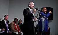 Bill Bratton and New York City Mayor-elect Bill de Blasio attends  a tribute service for Nelson Mandela at the National Action Network's headquarters in Harlem New York December 07, 2013, Photo by Kena Betancur / VIEWpress.