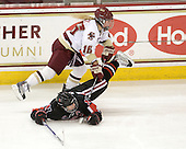 Kelli Stack (BC - 16), Julia Marty (NU - 16) - The Boston College Eagles defeated the visiting Northeastern University Huskies 2-1 on Sunday, January 30, 2011, at Conte Forum in Chestnut Hill, Massachusetts.