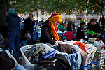 The comfort station of donated clothes at the Occupy Wall Street protest in New York's Zuccotti Park...Photo by Robert Caplin.