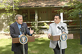 United States President George W. Bush and President Hosni Mubarak of Egypt answer reporters questions on the Middle East at Camp David, Maryland  on Saturday, June 8, 2002..Credit: Greg E. Mathieson - Pool via CNP