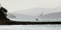 D NZL 10, sailing out of Schoolhouse Bay, viewed from Harris Bay, Bon Accord Harbour, Kawau Island, Hauraki Gulf, Auckland.