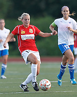 Second half substitute, Western New York forward Laura Heyboer (11) passes the ball. In a Women's Premier Soccer League Elite (WPSL) match, the Boston Breakers defeated Western New York Flash, 3-2, at Dilboy Stadium on May 26, 2012.