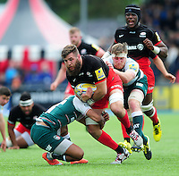 Will Fraser of Saracens takes on the Leicester Tigers defence. Aviva Premiership semi final, between Saracens and Leicester Tigers on May 21, 2016 at Allianz Park in London, England. Photo by: Patrick Khachfe / JMP
