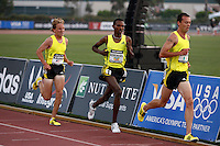 Scott Baughs(13:38.95), Dejen Gebremskel(13:16.52), Alistair Cragg(13:16.83) battled through the whole 5000m race on Saturday, May 16, 2009 at the Adidas Track Classic 2009 held at the Home Depot Center, Carson,Ca. Photo by Errol Anderson, The Sporting Image.net